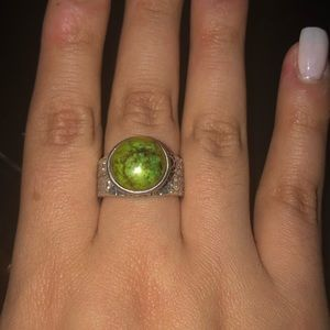 Silver (925) Ring with Green Stone